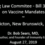 """Bill 39 Hearing - Dr. Bob Sears MD: """"Discrimination is wrong - Every Time""""."""